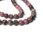 Rhodonite with matrix gemstone beads, 8mm round, natural pink, full & half strands available  (1109S)