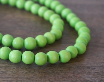 Lime Green round wood beads, 8mm, eco-friendly wooden beads (1035R)