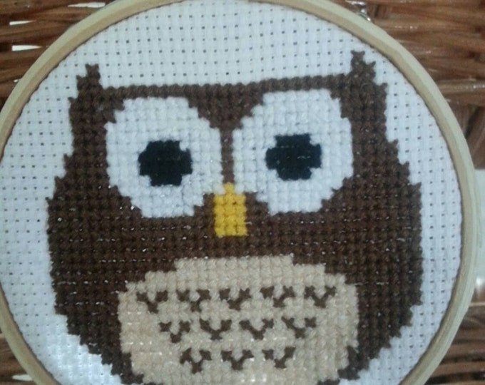 Owl cross stitch ornament or wall art
