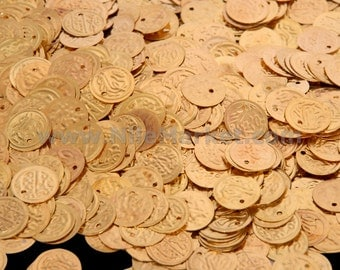 1000 Egyptian Golden Brass for Jewellery or Scarf Belt Coins 15mm