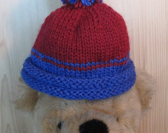 Blue and Red Handknit Baby Beanie--Ready to Ship--Knit Baby Cap--Baby Style--Warm Handknit Baby Hat with Pompom