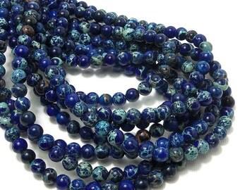 Impression Stone, 6mm, Dark Blue, Round, Smooth, Gemstone Beads, Small, Full Strand, 66pcs - ID 1234-DK