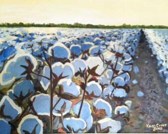 Cotton in the Light, impressionist art PRINT - cotton bolls and field, Louisiana farm rural