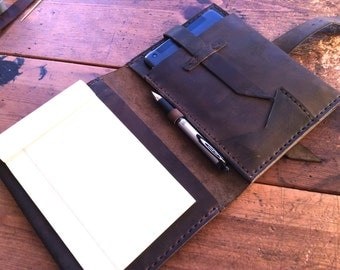 Left handed leather portfolio, A5 Notebooks for lefties, Left handed folio, Handmade iPad mini leather notebook, Small portfolio a5 custom