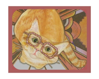 Orange Tabby Cat Art Print- Cats in Glasses Artwork