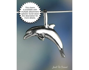 Dolphin CHARM or PENDANT Sterling Silver Leaping Dolphins Solid .925