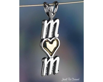 Mom Pendant Sterling Silver .925 with 14K Gold Heart Accent for Mother
