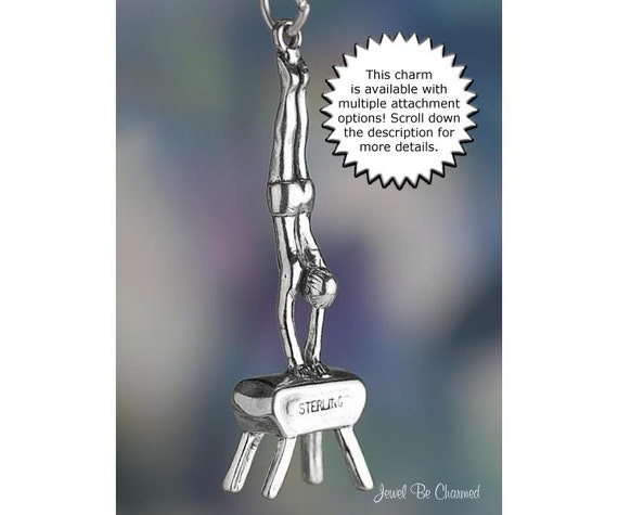 Male Gymnast on the Vault Charm Gymnastics Sterling Silver Solid .925