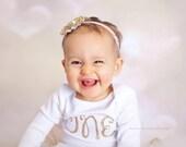1st Birthday glitter shirt, gold glitter ONE, first birthday, Baby Girl 1st birthday, Sparkly Birthday Shirt, Cake Smash Outfit