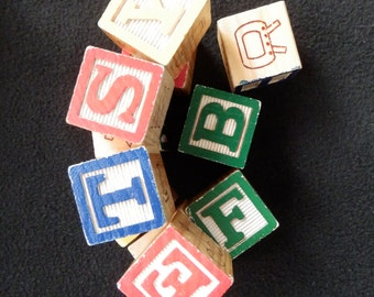 Wooden Blocks - Vintage - ABC - Baby Blocks (12)