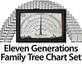 33 Blank family tree charts for 6 or up to 7 8 9 10 11 generations genealogy, free shipping, for baby, mother, father, reunion favors gifts
