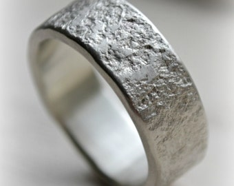 unisex silver ring - matte finish - handmade railroad spike texture artisan designed sterling silver wedding or engagement band - customized