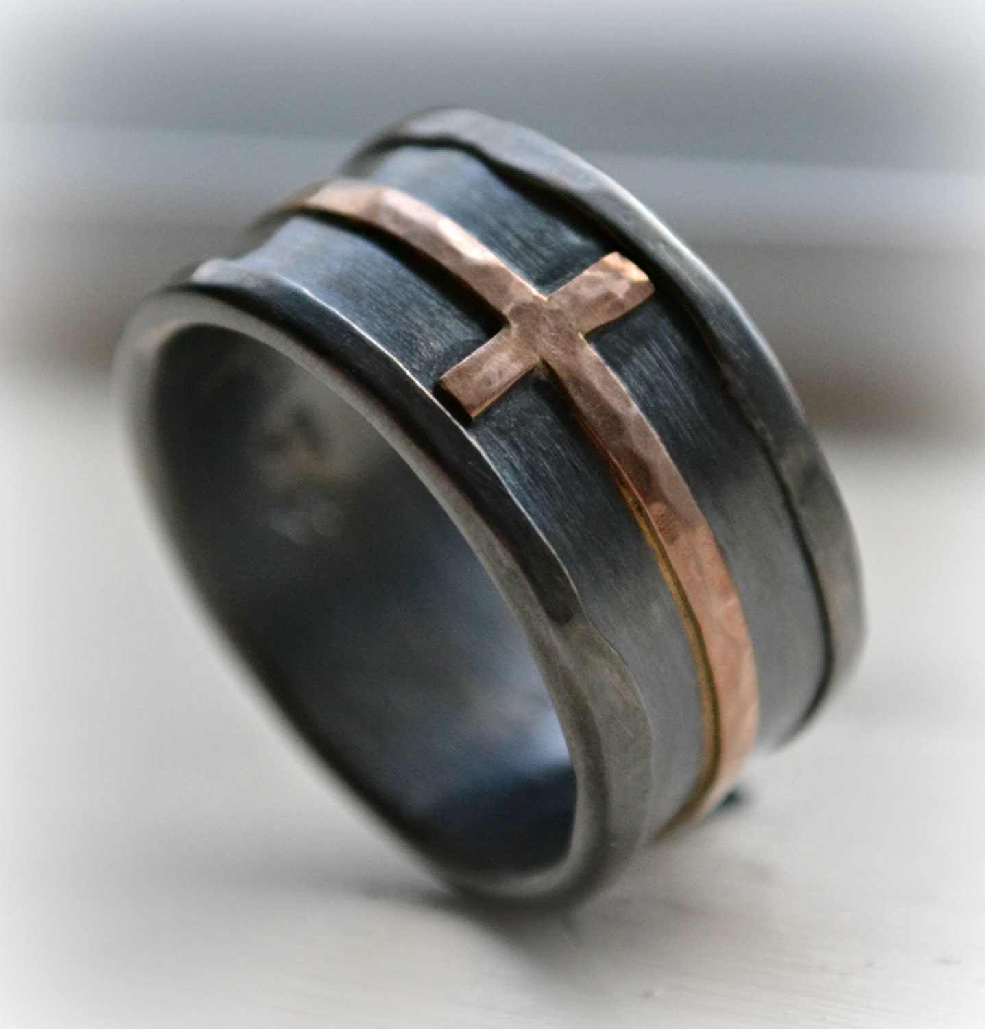mens wedding band rustic hammered cross ring oxidized fine