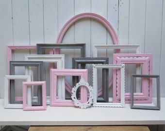 Pink,  Grey, White custom  Frame Set  Shabby Chic Decor for Girl's Room or  Baby Girl Nursery
