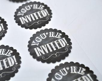 YOU'RE INVITED Label - Qty 8 - Chalkboard - Sticker - Label - Shabby Chic - Chalkboard wedding - Invitation Seal