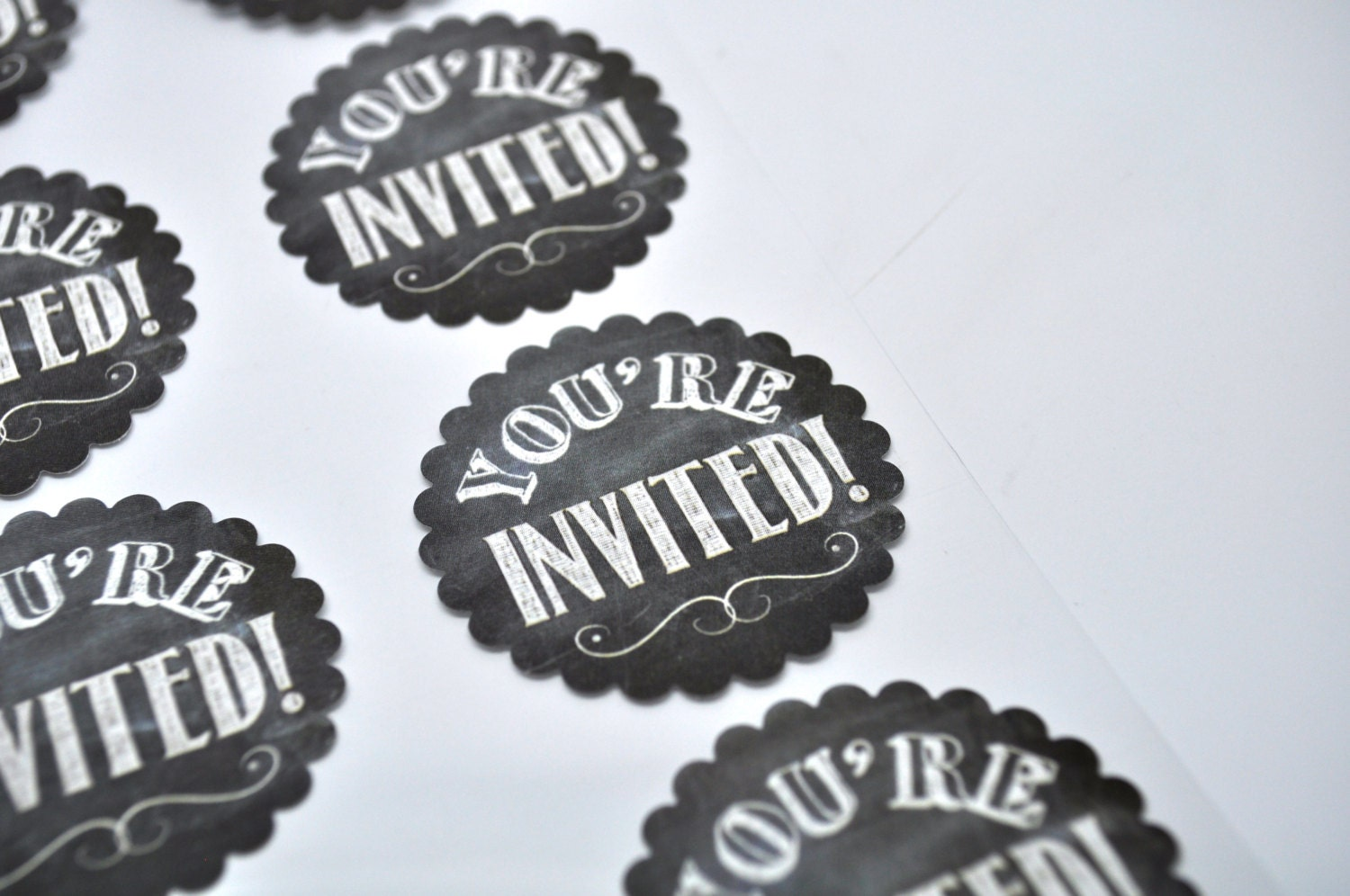 YOU'RE INVITED Label - Qty 8 - Chalkboard - Sticker - Label - Shabby Chic - Chalkboard wedding ...