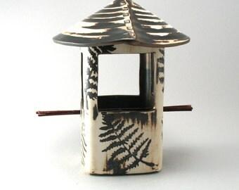 Stoneware Fern Leaf Bird Feeder-Handmade Pottery-Fern Leaves-Metallic Bronze Glaze-Natural Clay Finish-Home and Garden-Ceramic