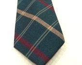 Vintage PENDLETON Tie Wool Tie J.S. Blank Tie Diagonal Stripes Checkerboard In Teal Green Burgandy and Tan