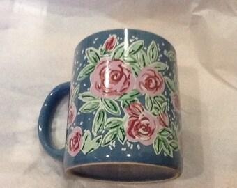 Vintage KANE Mug Purple With Pink Roses Red Roses Flowers Mug