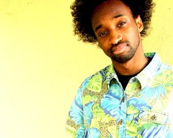 Vintage 90s Chambray DENIM Shirt, Jungle Print, Leopard Print, Hawaiian Tropical Vibe, Old School Hip Hop, Hunter S Thompson, Unisex, Mens M
