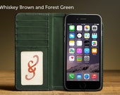 The Bella Fino Wallet Case for iPhone 6Plus/6S Plus - Whiskey Brown and Forest Green