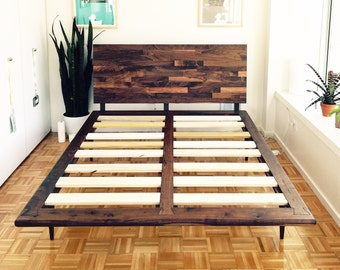 mid century solid walnut platform bed queen size bed king size bed midcentury bed