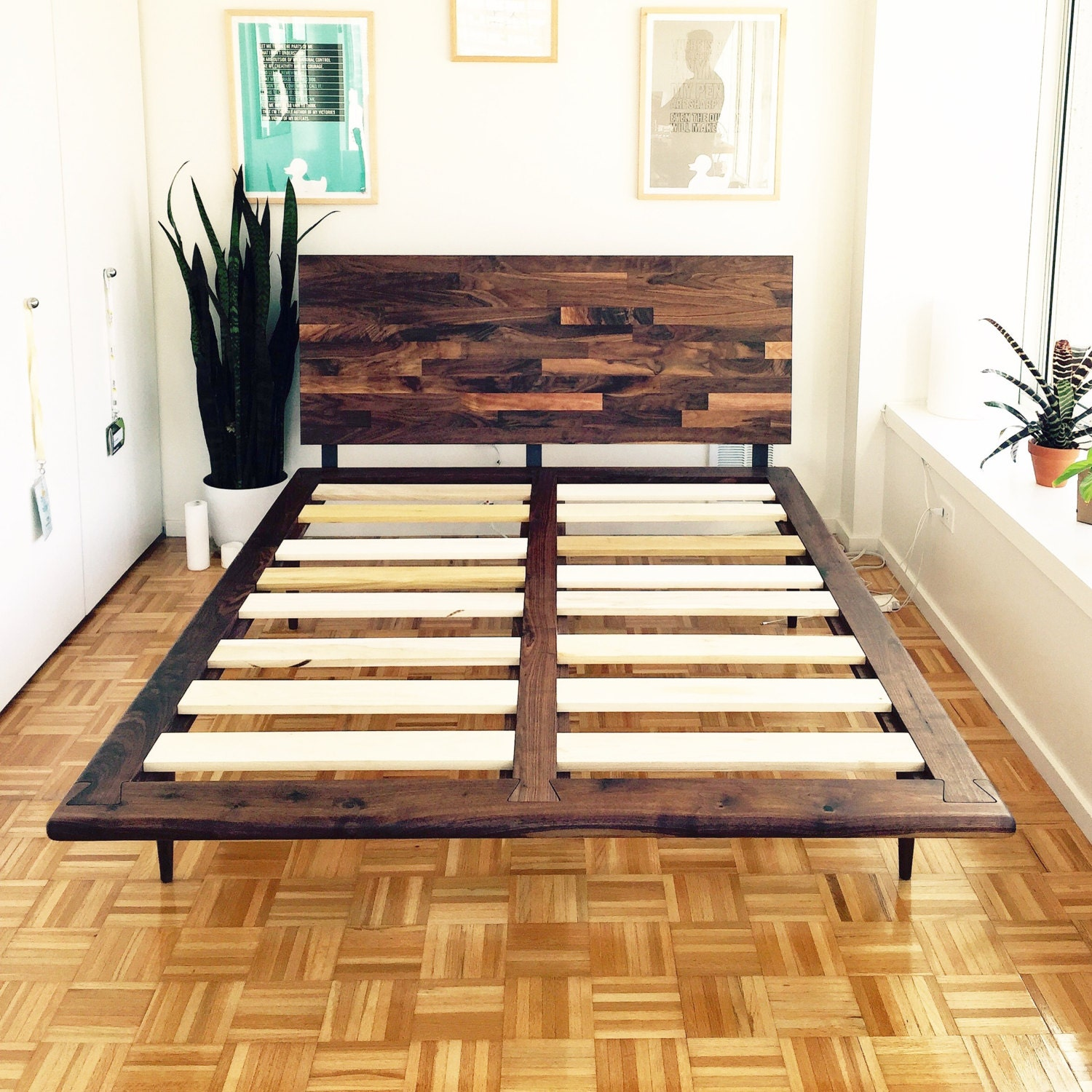 Mid Century Solid Walnut Platform Bed Queen Size Bed King Size
