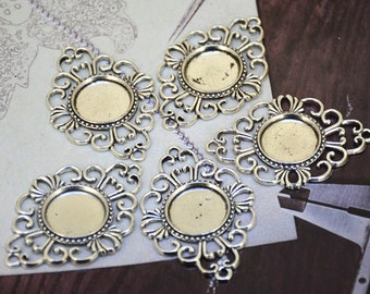 6pcs Antique Silver Filigree Flower Tray Pendant Base Dot Pad Base Findings base fit 18mm gemstone beads,Cabochon Base Jewelry Fitting