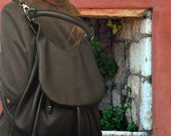 Handmade leather backpack, shoulder bag,   named Daphne in Matte Black MADE TO ORDER