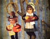 Thanksgiving Vintage Chenille Ornament Set with Free Turkey Ornie