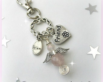 Friend Guardian Angel Purse or Bag Charm, Rose Quartz Gemstone Angel, Friendship Heart Charm
