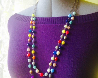 Double Strand Czech Glass Beaded Necklace. A beautiful colorful statement necklace of sparkling beads to add color and style to any outfit.