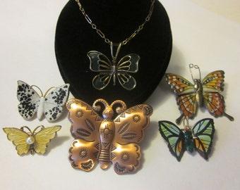 Float Like A Butterfly - Lot of 5 Butterfly Pins & 1 Butterfly Bracelet