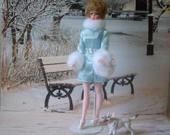 Barbie Clone Doll from 1960s, Elite Creations Wendy walking her Bull Terrier Dog.