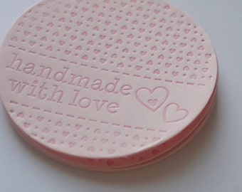 Handmade with Love Labels, Large Circle Tags, Handmade Embellishments, Valentines Day tag, Die Cut and Letterpressed Tags