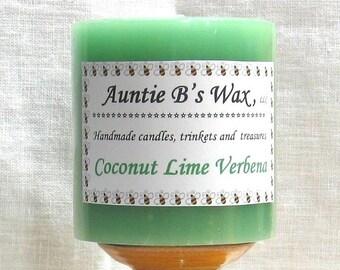 Coconut Lime Verbena - Paraffin Pillar Candle