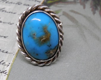 Native American Made Sterling Silver & Turquoise Pinkie Ring Sz 3.5
