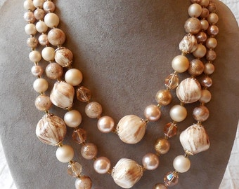 Chunky 3 Strand Choker Necklace w/ Pearlized Tan Beads & Crystals