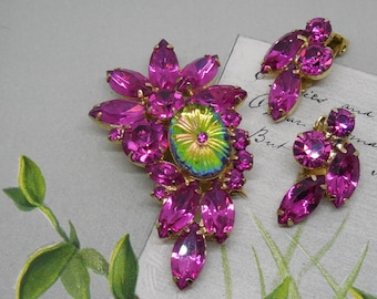 HOT Pink JULIANA D & E Rhinestone Brooch w/ Earrings Set