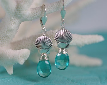 Aqua Blue Green Scallop Shell Earrings - Sterling Silver and Pewter Earrings