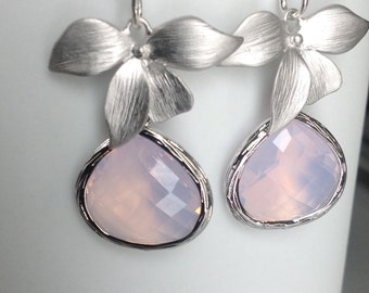 Wedding earrings, Orchid Jewelry, Violet opal drop earrings,  Opal Jewelry, Dangle earrings, Bridesmaids gift,  Wedding jewelry