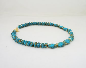 Howlite Necklace with Gold Disk, Blue and Gold Necklace, Gemstone Necklace, UK Seller