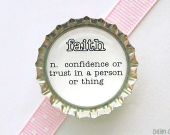 Faith Definition Magnet, Bottle Cap Magnet, dictionary art magnet, stocking stuffer, secret santa gift, kitchen organization, fridge magnet