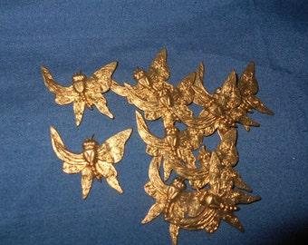 12 Brass Butterfly Embellishment Stampings Finding w/ Fancy Design