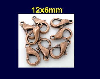 50 or 100 pcs. Copper Tone Lobster Clasps - 12mm X 6mm - Claw Clasps