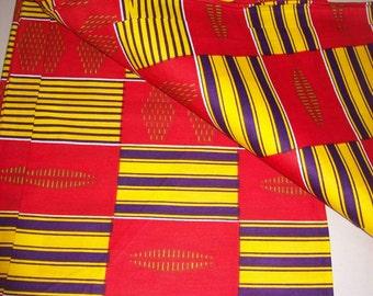 Red Kente print African fabric per yard/ Kente prints/ Kente cloth/ Kente skirt/ Kente Dress/ Kente fabric