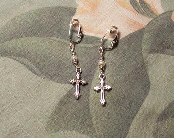Tibet Silver Simple Dainty Cross Pearl Earrings Clip on or Pierced