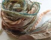 Art Yarn Bundle, peach gold blue-green, novelty yarn, specialty yarn, 14 yards