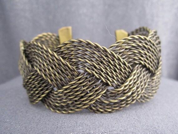 Woven Metal Wide Cuff Bracelet, oxidized, wire woven, braided