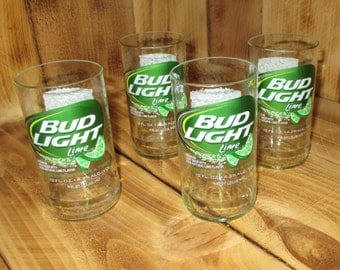 Upcycled Bud Light Lime Four Pack Juice Glasses